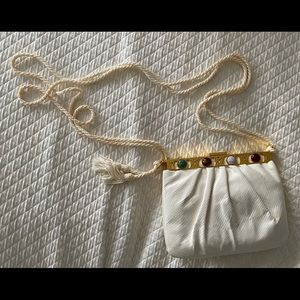White Lizard Judith Leiber Bag w Gold Trim & Gems